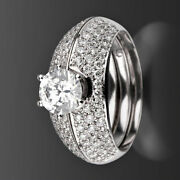 Diamond Ring Bands Set Colorless 2 Ct Vs2 D 14k White Gold 6 Prongs Anniversary