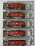 N Athearn 11955 5 Pack Cbandq Burlington Route 40' 3 Bay Offset Hoppers