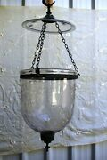 Antique Colonial Bell Jar Glass Lantern Belgian Lamps Pendent Light Etching F63