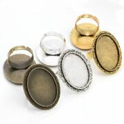 5pcs Glass Cabochons Oval Adjustable Ring Settings Blank Base Jewelry Findings