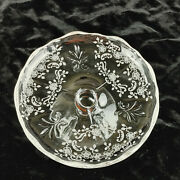 Heisey Etched Crystal Floral Pattern 5 Footed Cheese / Butter Server Plate