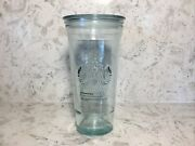 Starbucks 20oz Venti Recycled Glass Cold Cup Tumbler Made In Spain Rare W/ Lid