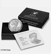 2021-w New American Silver Eagle Proof Type 2 With Box And Ogp In Hand