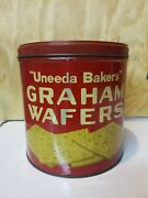 """""""uneeda Bakers"""" Graham Wafers National Biscuit Company Tin Can Canister"""