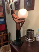 1920s Original Art Deco Spelter Max Le Verrier Lamp Collection In Person Only