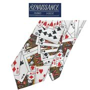 Renaissance Novelty White Tie - Colorful Playing Cards Pattern 100 Polyester