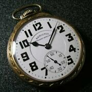 Hamilton Railway Special Manual Winding Antique Pocket Watch White Gold Auth