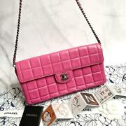 Quilted Turn Lock Chocolate Bar Lambskin Shoulder Bag Chain Pink Auth