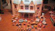 Vintage Fisher Price Loving Family 6364 Dollhouse With Lots Of Accessories Clean