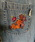 Scooby Doo Long Sleeve Denim Jean Womens Embroidered Shirt Size Large