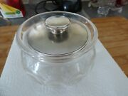 Silver And Glass Sugar Bowl With Full Hallmarks 925 Silver