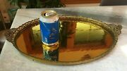 Antique Gold-mirrored Vanity Makeup Table Centerpiece Tray Ormolu Plateau