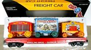K-line Lionel Ringling Bros Barnum Bailey Circus Flatcar With 3 Wagons. 5-pic.