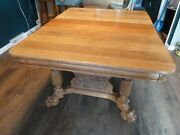 Antique Victorian Clawfoot Dining Table W/ 3 Leaves And 4 Period Chairs Seats 10