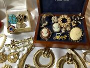 Vintage All Golden Costume Jewelry Lot Signed Cameos Rings Rhinestones Sets