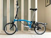 Brompton Folding Bike - H6r 2018 Lagoon Blue And Black Excellent Condition