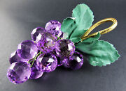 Set Of 8 Gorgeous Faceted Acrylic Lucite Purple Grape Cluster Napkin Rings E67