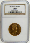 1824 Charles X 40 French Francs Solid Gold Coin Ngc Au58