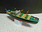 Rare Vintage Modern Toys Cargo Ship Freighter Tin Litho Wind Up Toy Boat - Japan