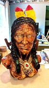 Vintage Native American Indian Hand Painted Chalkware/plaster Bust Colorful