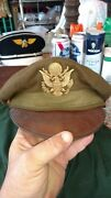 Salty Ww2 Us Army Air Forces Usaaf Corps Officer Dress Cap Hat Crusher Pilot
