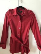Zara Women's Jacket Trench Raincoat Size Xs Red Spring Summer Thigh Length
