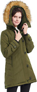 Orolay Womens Hooded Slim Puffer Jacket Quilted Mid Length Winter Down Coat