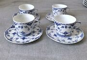 Royal Copenhagen Blue Fluted Full Lace Cups Set Of 4- 1st Quality 1/1035