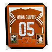 2005 Texas Longhorns National Champions Team Signed Deluxe Framed Jersey - Psa