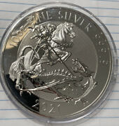 2021 10 Oz Silver Great Britain Valiant St. George And The Dragon Bu Coin In Cap