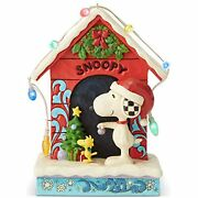 Jim Shore Peanuts Snoopy And Woodstock Dog House Lit Figurine 7 6002771