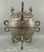 9 Antique Chinese Silver Bronze Ware Dynasty 3 Foot Lid Incense Burners Censer