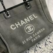 Deauville Shoulder Bag Gray Black Canvas Cc Logo Chain Strap With Card