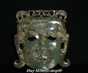 Unique Natural Hetian Jade Pure Hand Carving People Man Face Vizard Mask Statue