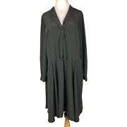 Modcloth Plus Size 24 Black Fit And Flare Long Sleeve Dress Side Pockets