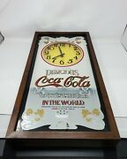 Vintage Coca Cola Mirrored Wall Clock Wood 25x13 Battery Powered