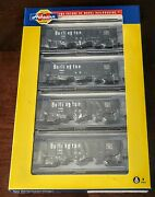N Athearn Ath17622 4 Pack Cbandq Burlington Route 40' 3 Bay Ribbed Side Hoppers