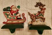 Midwest Of Cannon Falls Cast Iron Santa And Reindeer Stocking Hangers Vg Condition