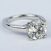Solitaire Round Cut Diamond Engagement Ring 1.28 Carat Vs2/h White Gold
