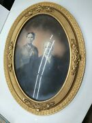 Vintage Antique Wood Oval Picture Frame W/domed Bubble Glass 1900's Pre-owned