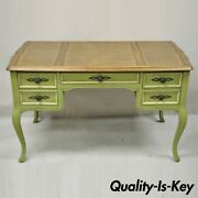 Sligh Vintage French Country Provincial Green Painted Brown Leather Writing Desk