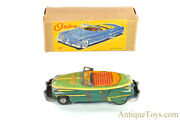 """Ichiko Tin Lithographed Friction """"orion"""" Japanese Toy Convertible Car In Box"""