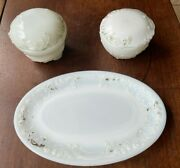 Antique Vintage Milk Glass 3 Piece Dresser Vanity Set Covered Dishes And Oval Tray