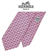 Hermes Pink Tie - White Gray Linked Horse Bits Silk Authentic French Necktie