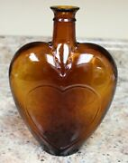 Vintage Brown Glass Paul Masson Heart Shaped Sherry Or Port Bottle - 8 Inch
