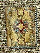 Antique Hand Tooled Leather Bible Book Cover Floral And Vines Rare