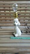 Vintage White And Black Mid Century Poodle Lamp - Works