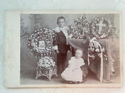 Antique Cabinet Card Post Mortem Baby Photo Of Dead Father In Flowers Sad Boy