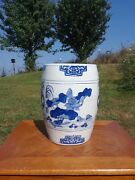 Vintage Blue And White Chinese Porcelain Garden Stool Barrel Bird And Lotus Flower