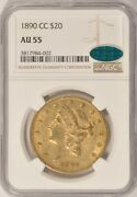 1890-cc 20 Liberty Gold Double Eagle Coin Ngc Au55 Cac Sticker Pre-1933 Gold
